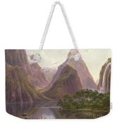Native Figures In A Canoe At Milford Sound Weekender Tote Bag