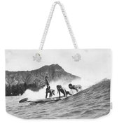 Native Hawaiians Surfing Weekender Tote Bag