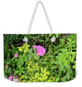 Natural Background With Vegetation And Purple Flowers. Weekender Tote Bag