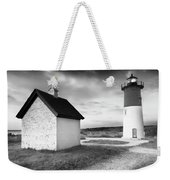 Nauset Light - Black And White Lighthouse Weekender Tote Bag