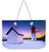 Nauset Lighthouse Sunset,  First Snow Weekender Tote Bag