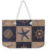 Nautical Burlap Weekender Tote Bag