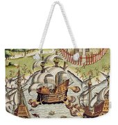 Naval Battle Between The Portuguese And French In The Seas Off The Potiguaran Territories Weekender Tote Bag