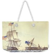 Naval Engagement Between The Uss Frigate Constitution And Hms Frigate Java Weekender Tote Bag