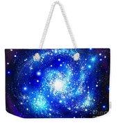 Neon Blue Galaxy Bright Stars Weekender Tote Bag