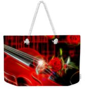 Neons Violin With Roses Weekender Tote Bag