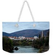 Neretva River And Mostar City And Hills With Mosque Minaret Bosnia Herzegovina Weekender Tote Bag