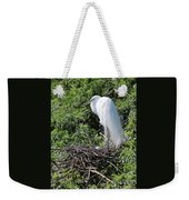 Nesting Great Egret With Egg Weekender Tote Bag