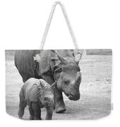 New Born Rhino And Mom Weekender Tote Bag