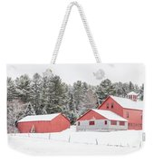 New England Farm With Red Barns In Winter Weekender Tote Bag