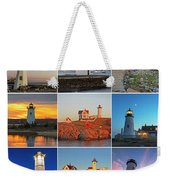 New England Lighthouse Collage Weekender Tote Bag