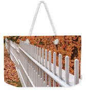 New England White Picket Fence With Fall Foliage Weekender Tote Bag