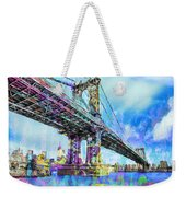 New York City Manhattan Bridge Blue Weekender Tote Bag