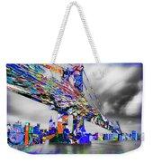 New York City Manhattan Bridge Pure Pop Blue Weekender Tote Bag