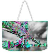 New York City Manhattan Bridge Pure Pop Green Weekender Tote Bag