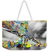 New York City Manhattan Bridge Pure Pop Gold Weekender Tote Bag