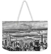 New York City Skyline B And W Weekender Tote Bag