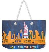 New York City Skyline License Plate Art Weekender Tote Bag by Design Turnpike