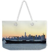 New York City Skyline With Passing Container Ship Weekender Tote Bag
