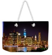 New York City Tribute In Lights And Lower Manhattan At Night Nyc Weekender Tote Bag