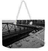 New York City You're Beautiful Brooklyn Bridge Ny Black And White Weekender Tote Bag