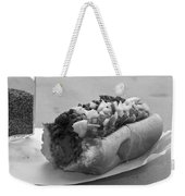 New York Corner Deli Dog Weekender Tote Bag by Betsy Knapp