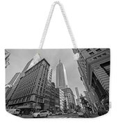 New York Fifth Avenue Taxis Empire State Building Black And White Weekender Tote Bag