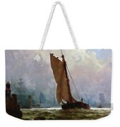 New York Harbor With The Brooklyn Bridge Under Construction Weekender Tote Bag