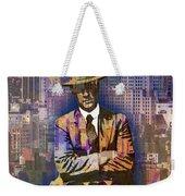 New York Man Seated City Background 1 Weekender Tote Bag