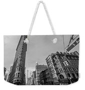 New York Ny Flatiron Building Fifth Avenue Black And White Weekender Tote Bag