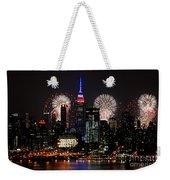 New York Skyline And Fireworks Weekender Tote Bag