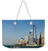 New York Skyline And Sailboat Weekender Tote Bag