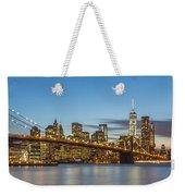 New York Skyline - Brooklyn Bridge Panorama Weekender Tote Bag