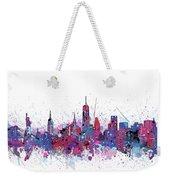 New York Skyline Color Splatter Weekender Tote Bag