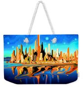 New York Skyline Blue Orange - Modern Art Weekender Tote Bag