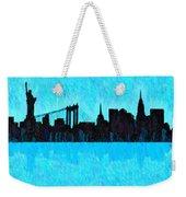 New York Skyline Silhouette Cyan - Da Weekender Tote Bag