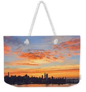 New York Skyline Sunrise Clouds And Color Weekender Tote Bag
