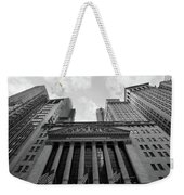 New York Stock Exchange Black And White Weekender Tote Bag