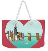 New York Vertical Skyline - Heart Weekender Tote Bag