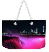 Niagara Falls At Night - Pink Weekender Tote Bag