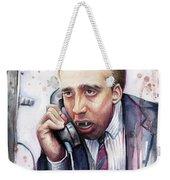 Nicolas Cage A Vampire's Kiss Watercolor Art Weekender Tote Bag by Olga Shvartsur