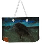 Night Bird With Red Square Weekender Tote Bag