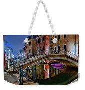 Night Bridge In Venice Weekender Tote Bag