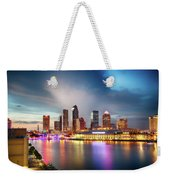 Night Downtown River Weekender Tote Bag