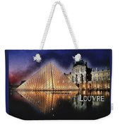 Night Glow Of The Louvre Museum In Paris  Text Louvre Weekender Tote Bag