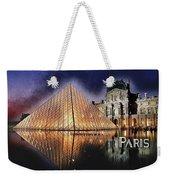 Night Glow Of The Louvre Museum In Paris Text Paris Weekender Tote Bag