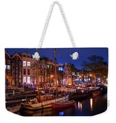 Night Lights On The Amsterdam Canals 7. Holland Weekender Tote Bag