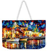 Night Riverfront - Palette Knife Oil Painting On Canvas By Leonid Afremov Weekender Tote Bag