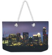 Night View Of Downtown Skyline In Winter Weekender Tote Bag