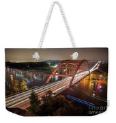 Nighttime Boats Cruise Up And Down The Loop 360 Bridge, A Boaters Paradise With Activities That Include Boating, Fishing, Swimming And Picnicking - Stock Image Weekender Tote Bag